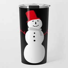 Christmas Snowman-Black Travel Mug