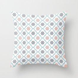 Red & Blue Mute Lattice Throw Pillow