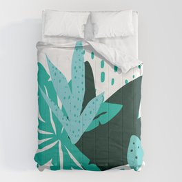 Modern Tropical Flowers & Leaves Graphic Designs Comforters