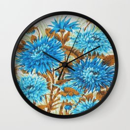 Australian Vintage Tea Towel Cornflower Blue Wall Clock