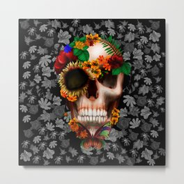 Halloween sugar skull with butterfly iPhone 4 4s 5 5c 6, ipod, ipad, pillow case Metal Print