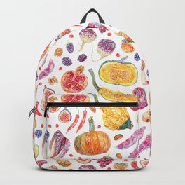 Autumn Harvest Pattern White Backpack