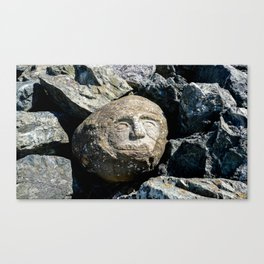Happy Faces Carved in Stone Canvas Print