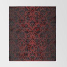 Dark Red and Black Damask Throw Blanket