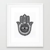 hamsa Framed Art Prints featuring Hamsa by Luna Portnoi