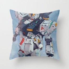 Nu Gundam watercolor Throw Pillow