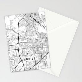 Mobile Map, Alabama USA - Black & White Portrait Stationery Cards