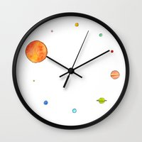 planets Wall Clocks featuring Planets by Binkfloyd