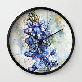 Spring Watercolor Texas Bluebonnet Flowers Wall Clock
