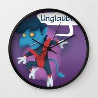 nightcrawler Wall Clocks featuring Little Nightcrawler by Alex Santaló