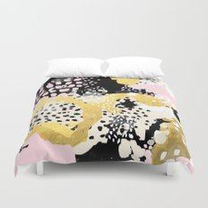 Simone - abstract painting gold foil trendy hipster pastel pink modern trendy colors decor college Duvet Cover