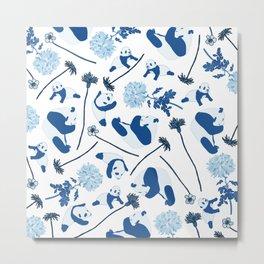 Blue Pandas Metal Print