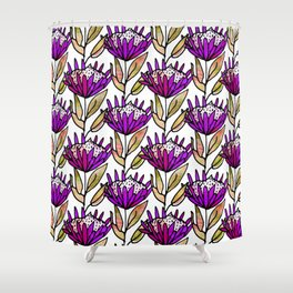 Modern Floral Protea Purple #homedecor Shower Curtain