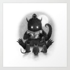 Story Time (black and white option) Art Print