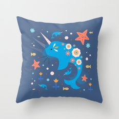 Narwhal & Babies  Throw Pillow