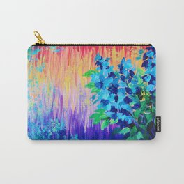 SHADES OF BEAUTIFUL - Stunning Bright BOLD Rainbow Ombre Pattern Blue Floral Hyacinth Nature Autumn Carry-All Pouch