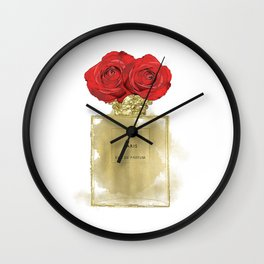 Red Roses & Fashion Perfume Bottle Wall Clock