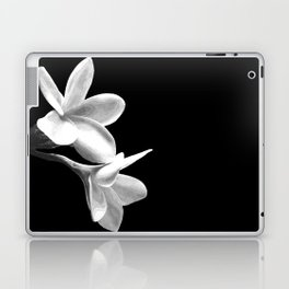 White Flowers Black Background Laptop & iPad Skin