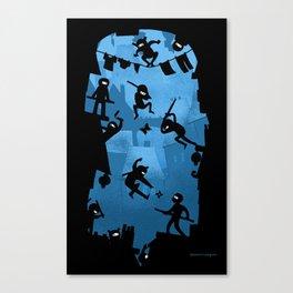 Ninja Kick Ass Clash Canvas Print