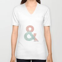 ampersand V-neck T-shirts featuring Ampersand by Samantha Lynch
