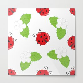 Seamless pattern with ladybugs and white flowers with leaves Metal Print