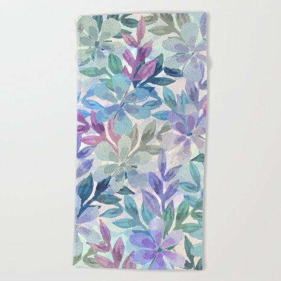 watercolor Botanical garden Beach Towel