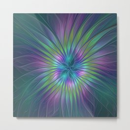 Colorful and luminous Fantasy Flower, Abstract Fractal Art Metal Print