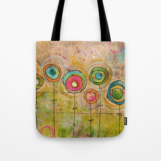 3 orange, 2 green, 3 blue flowers Tote Bag