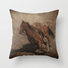 Break Away Rodeo Horse Throw Pillow