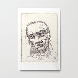 face of a old man - handmade art etching Metal Print
