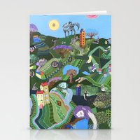 giants Stationery Cards featuring Sleeping Giants by Valeriya Volkova