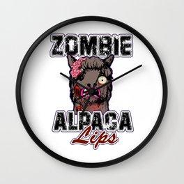 Zombie Alpaca Lips Halloween Pun Llama Alpacalypse Light Wall Clock