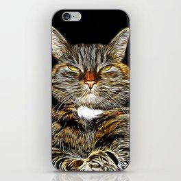 cat like a boss vector art iPhone Skin