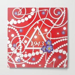 Crimson and Pearls Metal Print