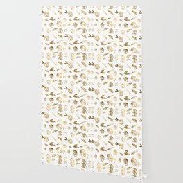 Gold Roses Rosette Pattern Golden on White Wallpaper