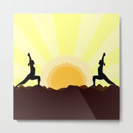 Yoga Landscape With 2 Women Metal Print