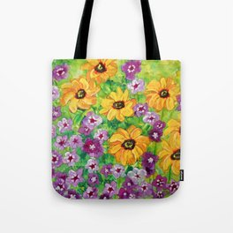 The Angel - Daisies and Phlox Painting Tote Bag