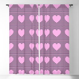 Hearts and stripes pattern pink and gray Blackout Curtain