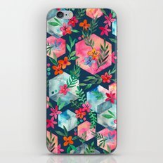 Whimsical Hexagon Garden on Blue iPhone & iPod Skin