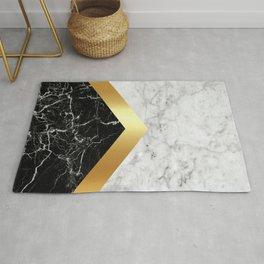 Arrows - White Marble, Gold & Black Granite #147 Rug