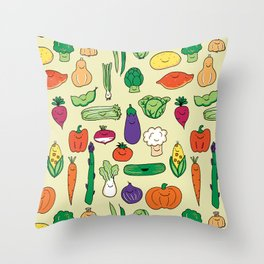 Cute Smiling Happy Veggies on beige background Throw Pillow