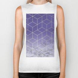Geometric Marble Ultraviolet Purple Gold Biker Tank