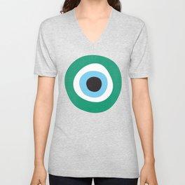 Emerald Dark Green Evil Eye Symbol Unisex V-Neck