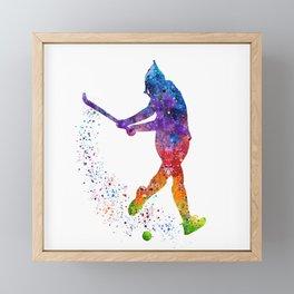 Girl Field Hockey 3 Colorful Watercolor Art Field Hockey Gift Girl's Room Decor Framed Mini Art Print