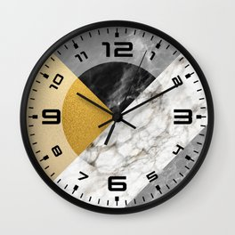 Gold foil white black marble #4 Wall Clock