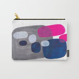 Mid Century Modern Minimalist Colorful Pop Art Grey Navy Blue Neon Pink Color Blobs Ovals Carry-All Pouch