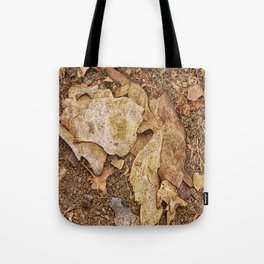 Bark on the forest floor Tote Bag