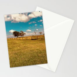 Kansas Farm Pasture with Blue Sky and Fluffy Clouds Stationery Cards
