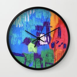 """Barbie's """"2008"""" Block Kids in Orange and Red Mountains Under a Blue Sky Wall Clock"""