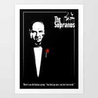 sopranos Art Prints featuring The Sopranos (The Godfather mashup) by Agu Luque